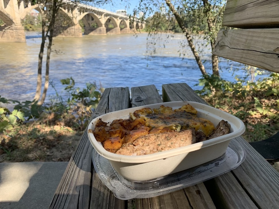 takeout food next to river