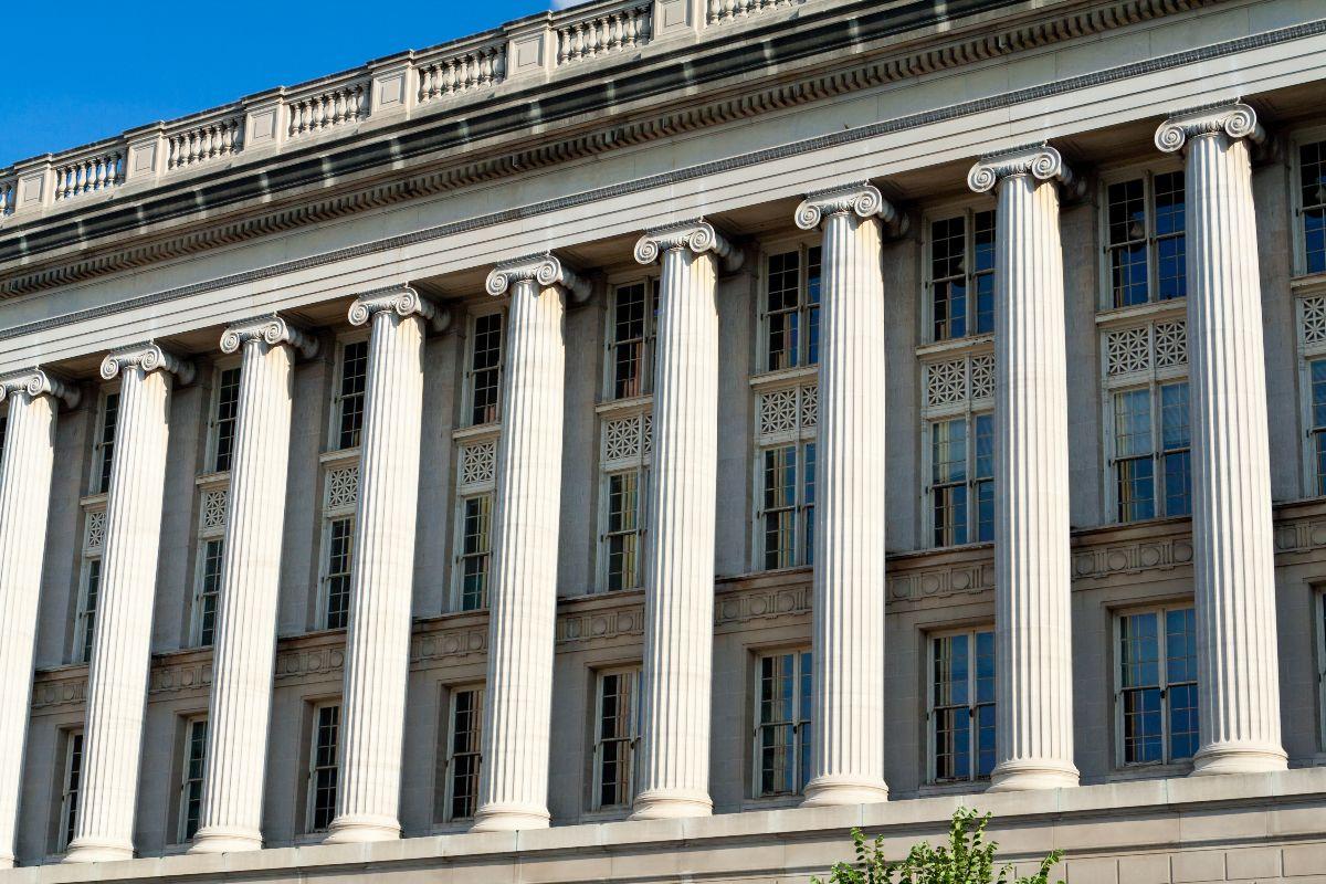 Exterior, columns of Commerce building