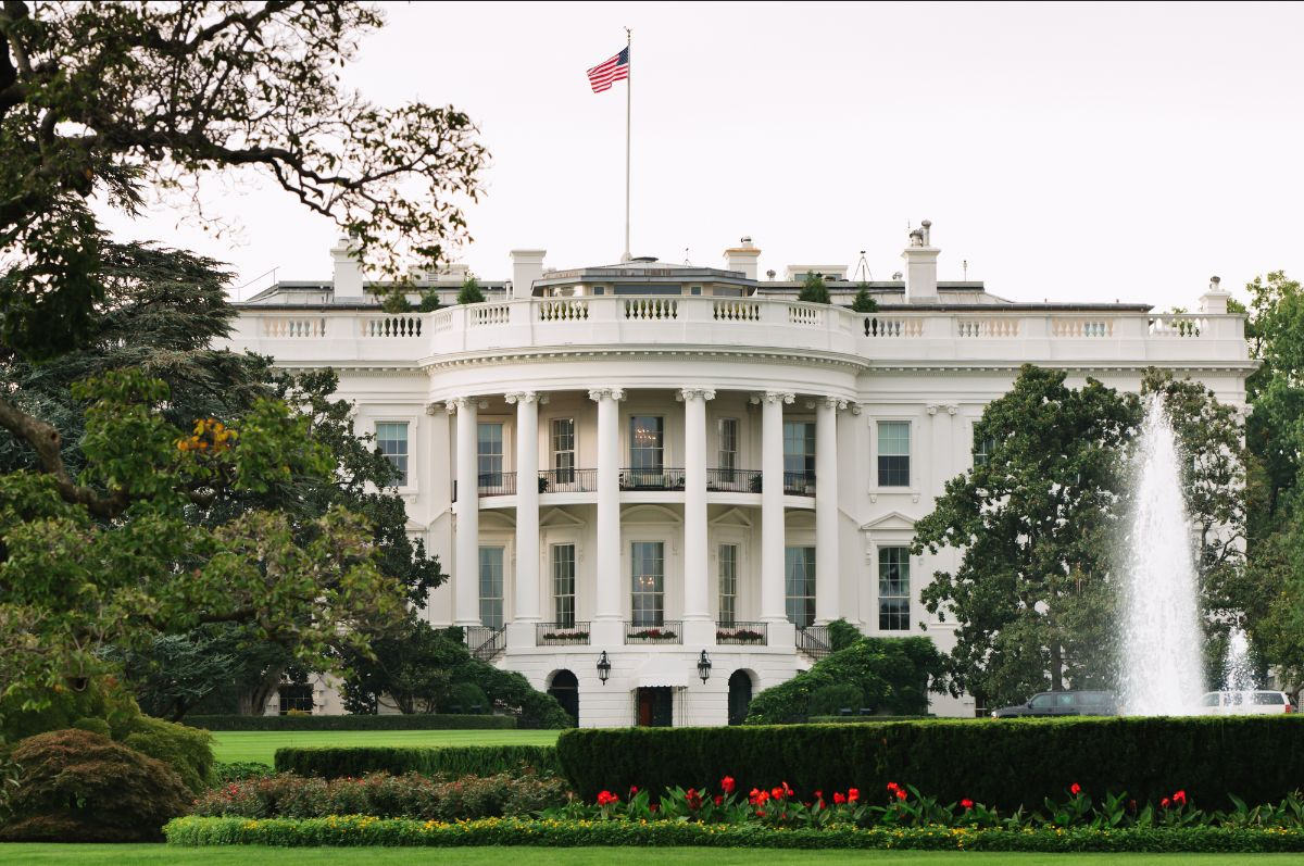 Exterior of White House south lawn (stock photo)