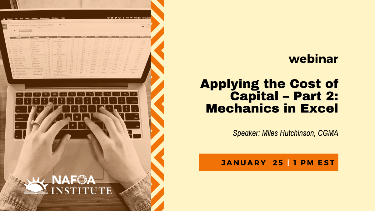 """""""Applying the Cost ofCapital – Part 2: Mechanics in Excel"""" on Jan 25 at 1pm EST"""