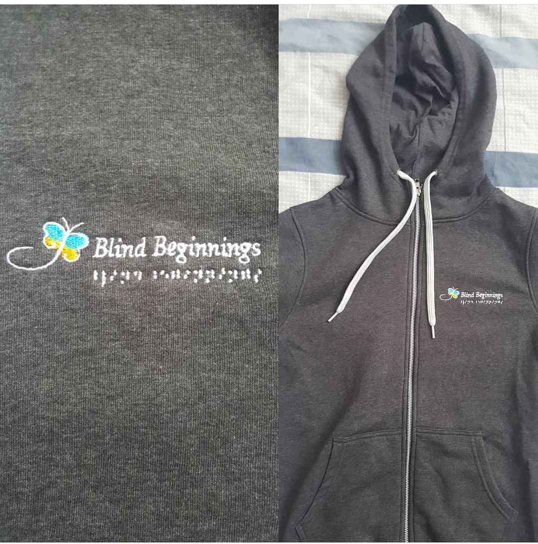 A very fashionable Blind Beginnings hoodie.