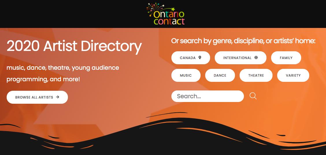 Screenshot of artist directory