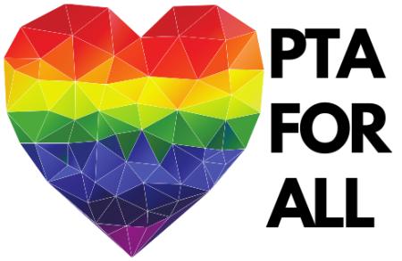 PTA For All with rainbow heart