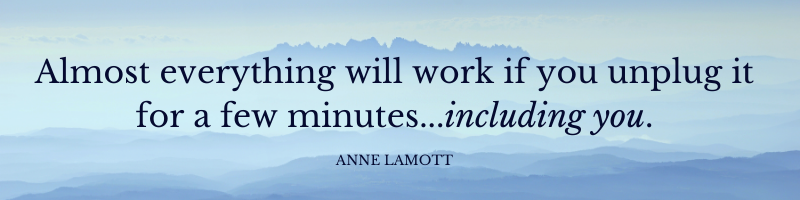 Almost everything will work if you unplug it for a few minutes...including you. Anne Lamott