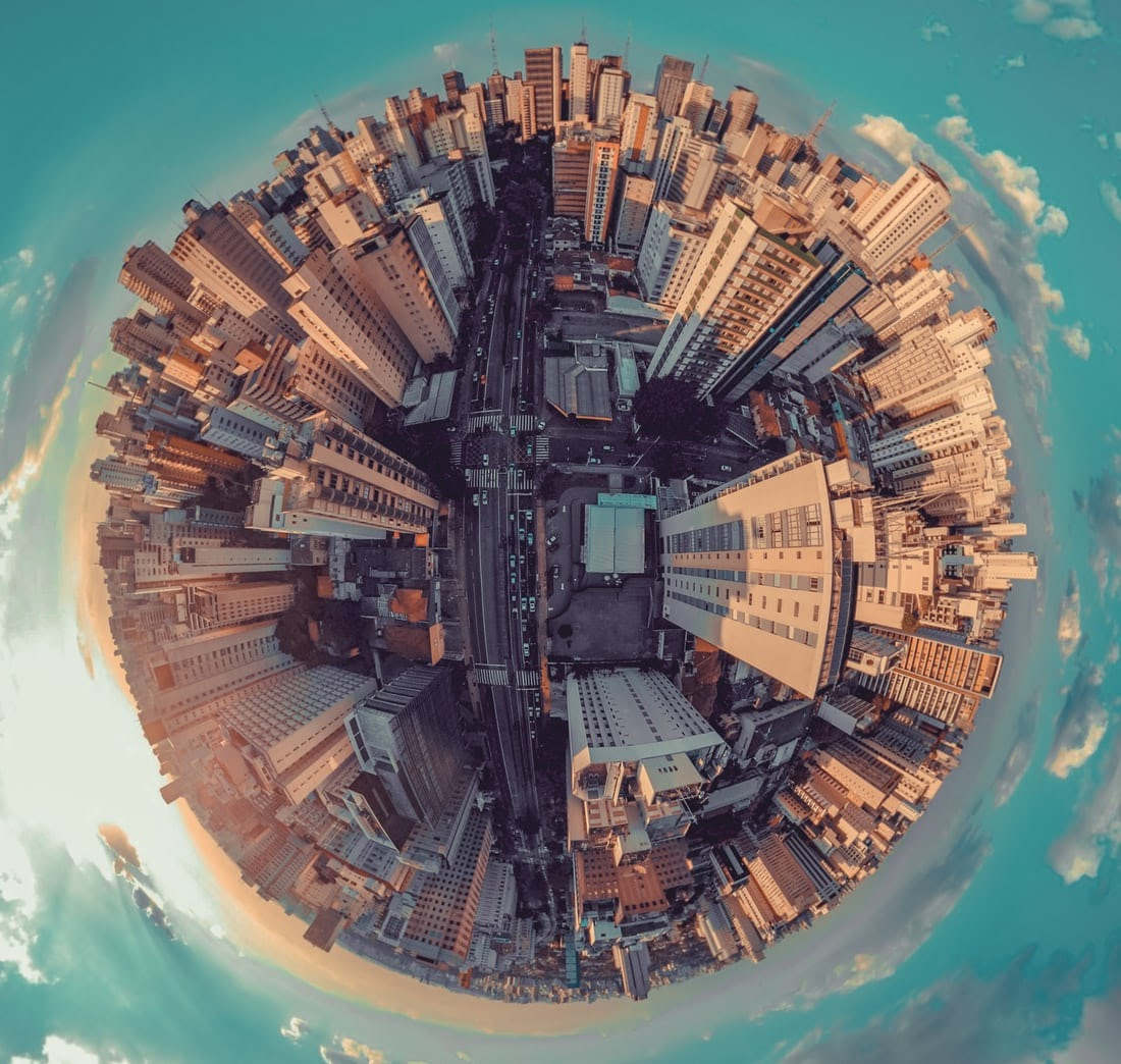 an urban landscape in the shape fo a globe