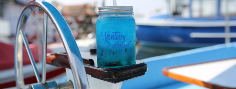 Ice cold beverage on an electric boat from ventura boat rentals
