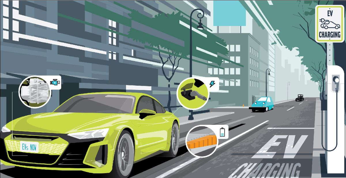 Illustration of electric car driving on city street past EV charging station