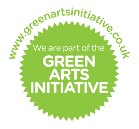 The Green Arts Initiative logo - spiky green circle with white text