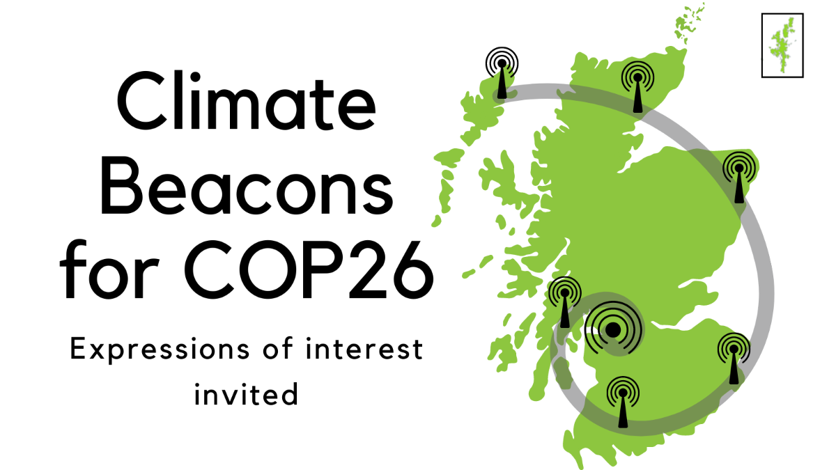 A green map of Scotland with beacon icons at random places across the country and a grey line linking them all back to Glasgow. Text reading: Climate Beacons for COP26, expressions of interest invited.
