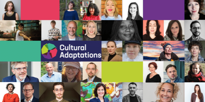 Cultural Adaptations logo surrounded by headshots of a number of our conference speakers.
