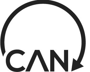 CAN logo, with a black circular arrow
