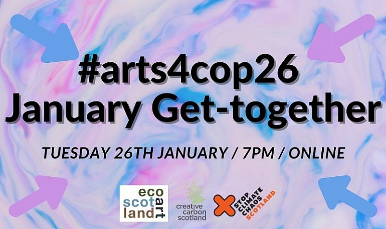 Flyer image in pinks and blues advertising the #arts4cop26 get-together