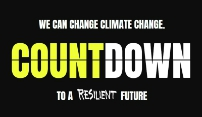 """Countdown logo. Says """"We can change climate change"""""""