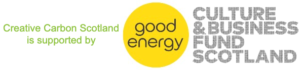 logos for our supporters Good Energy and Culture & Business Fund Scotland