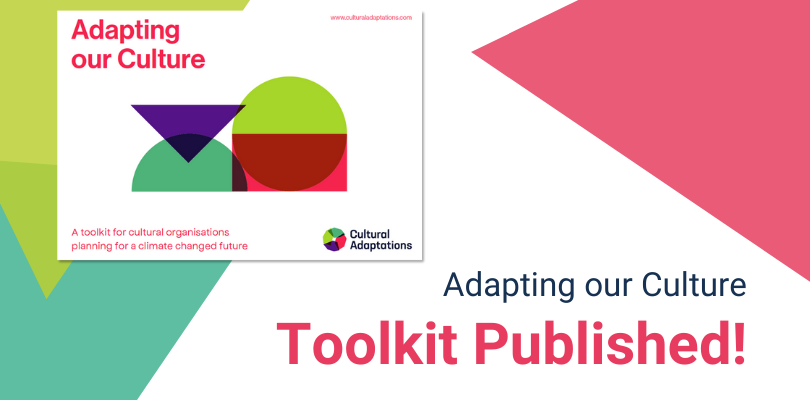 """Graphicwith bright triangles and circles. Text reads: """"Adapting our Culture Toolkit Published!"""""""
