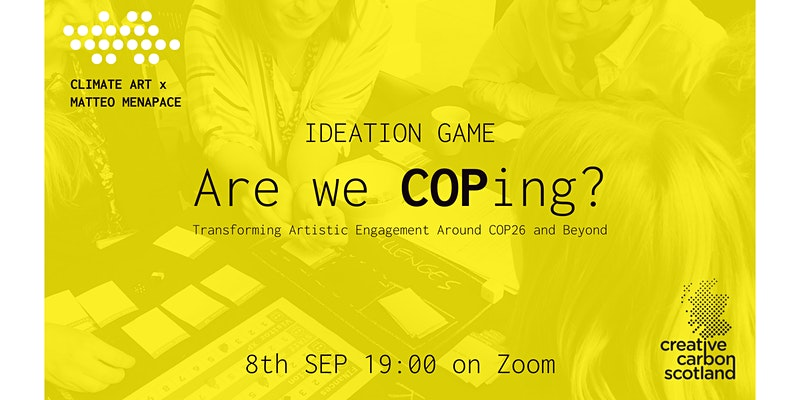 Yellow banner with a photo of a workshop as the background, overlaid with the event title 'Are we COPing'.