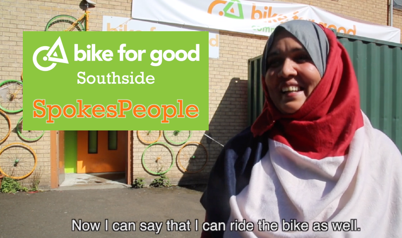Woman in a head scarf with text promoting 'Spokes People' - a series of five short films