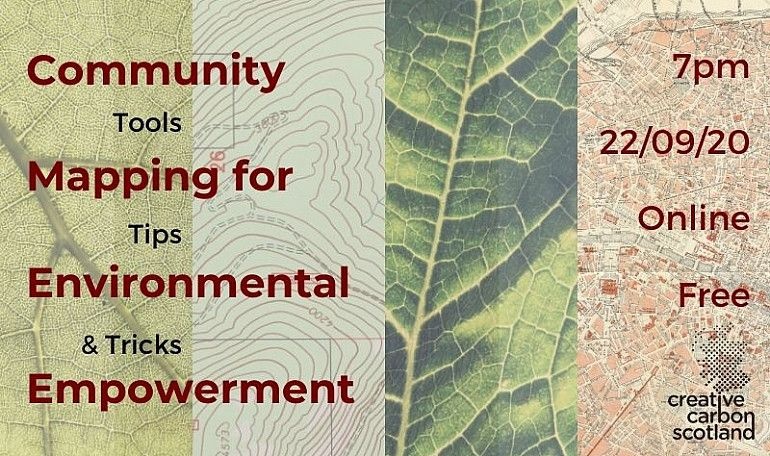 A banner with the event title 'Green Tease: Community Mapping for Environmental Empowerment', over a background with four photos: two close ups of leaves, and two types of maps.