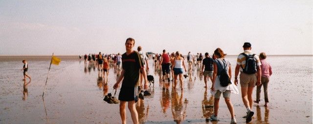 large group of people walking along a long beach; one is turned to camera, all the others are walking away