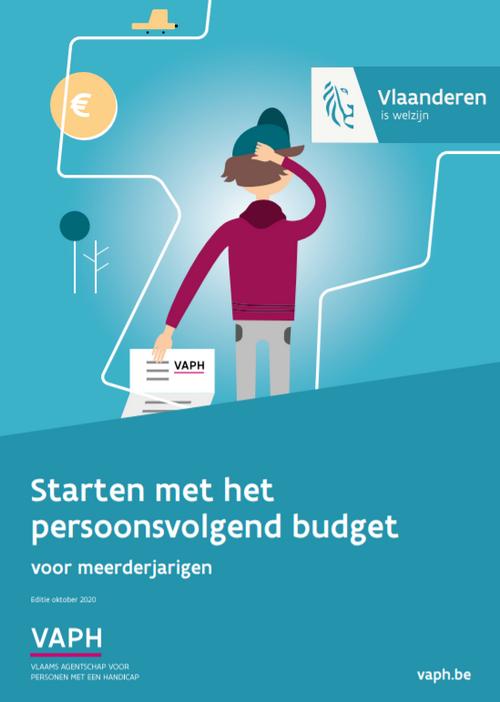 cover van de brochure 'Starten met het persoonsvolgend budget'- blauwe achtergrond, getekend mannetje met papier in hand waar VAPH op staat
