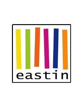 logo van Eastin: wit vierkant met 6 verschillend gekleurde verticale dikke strepen en daaronder 'eastin' vermeld