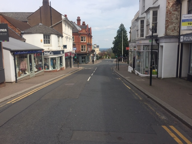 A deserted Church Street in Malvern.