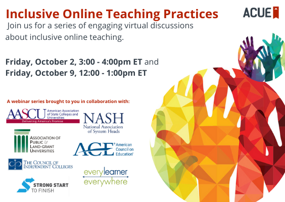 Inclusive Online Teaching webinars
