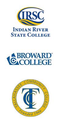 Logos of IRSC, Broward College, Tallahassee Community College