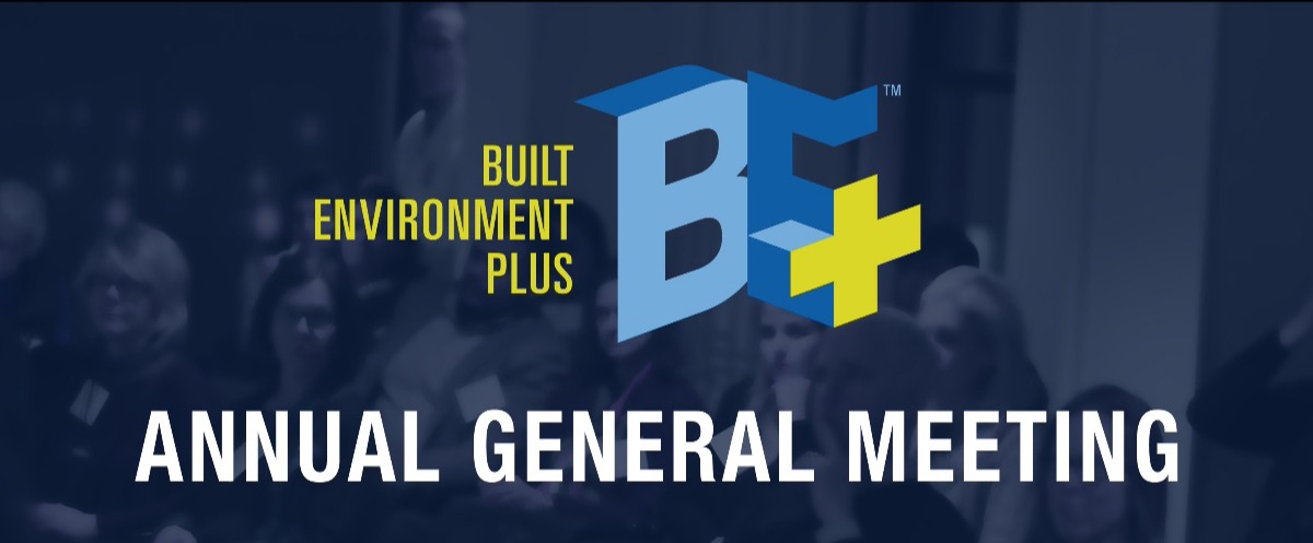 Logo Graphic with BE+ Logo over the words Annual General Meeting
