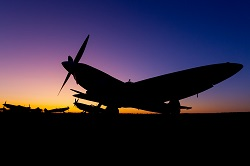 Spitfire at sunset