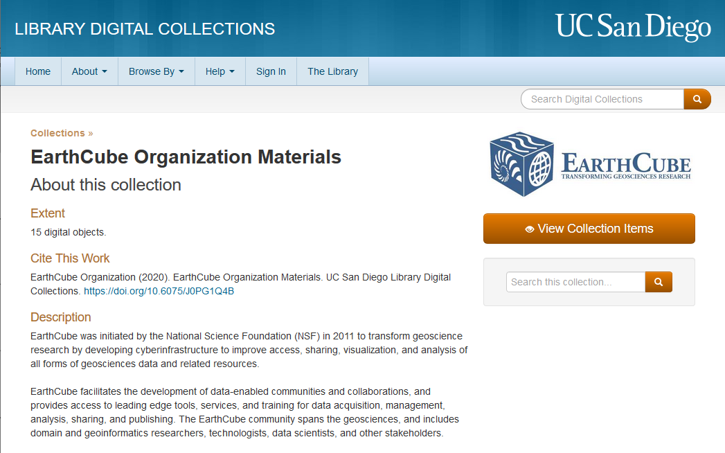 EarthCube materials at UCSD library