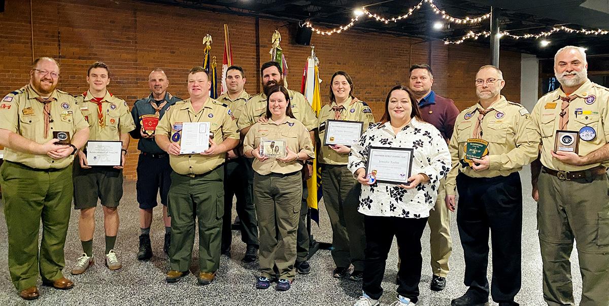 2020 Pathfinder District award winners group photo.