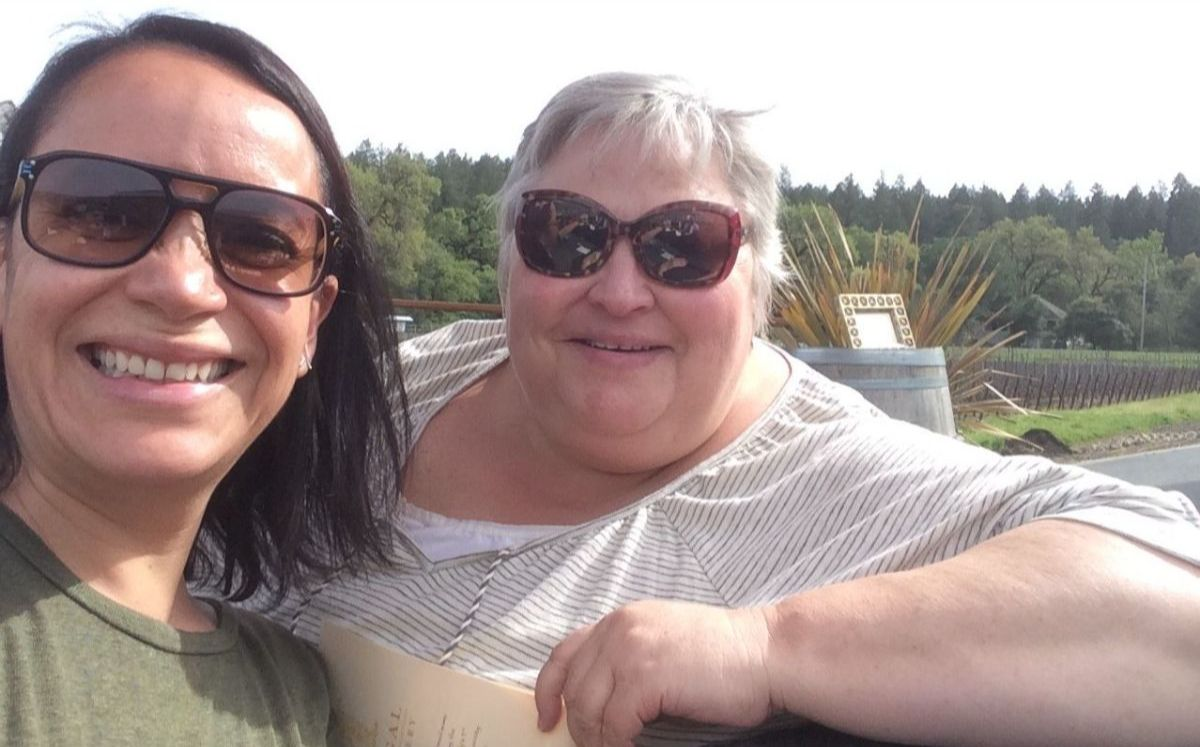 NFG President Adriana Rocha posing in a selfie with Mary Sobecki, Executive Director of the Needmor Fund and outgoing NFG Board Member