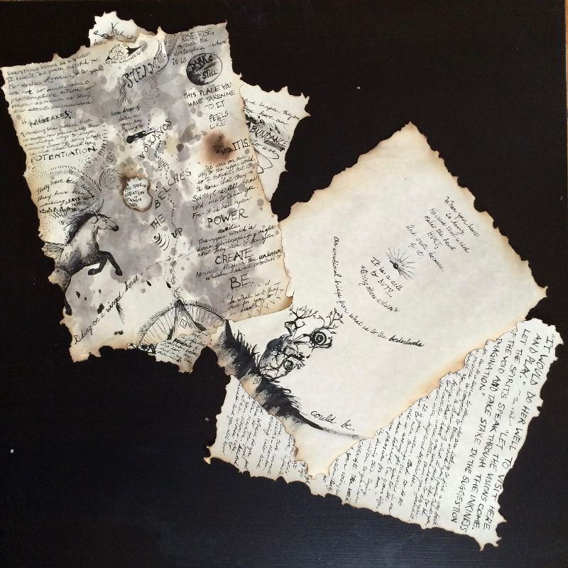 Four sheets of parchment paper with burned edges, cursive and block writing, including drawings of a horse and an anatomical heart.
