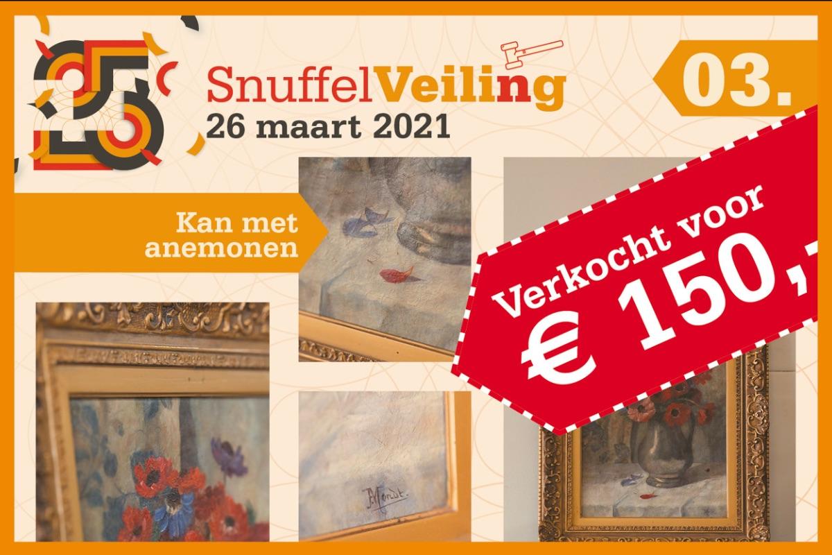 Kan met Anemonen schilderij verkocht voor € 150,-