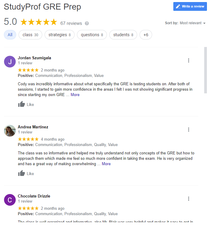 67 5-star google reviews for StudyProf