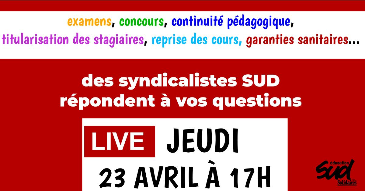 Live facebook jeudi 23 avril à 17h