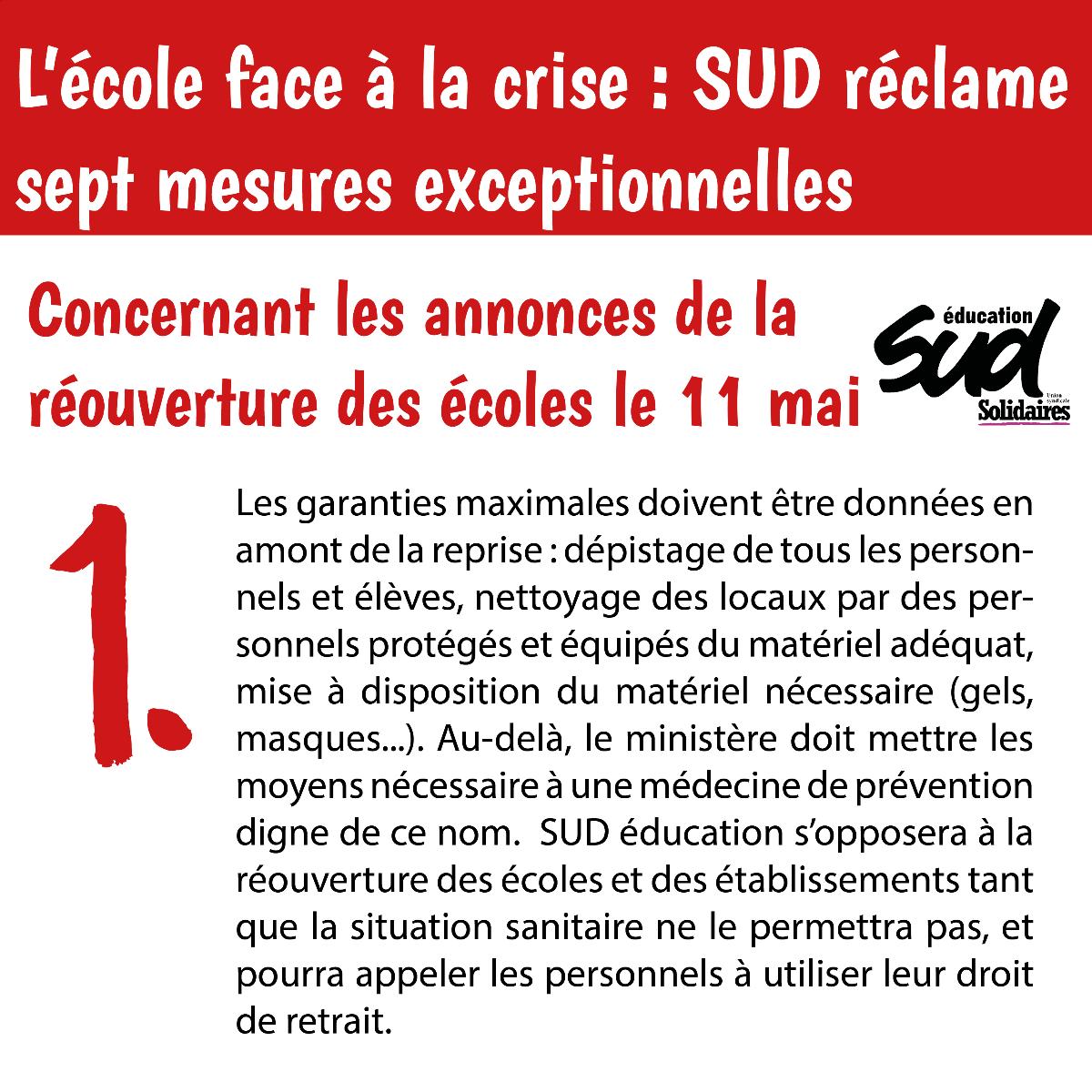 L'école face à la crise : SUD réclame 7 mesures exceptionnelles