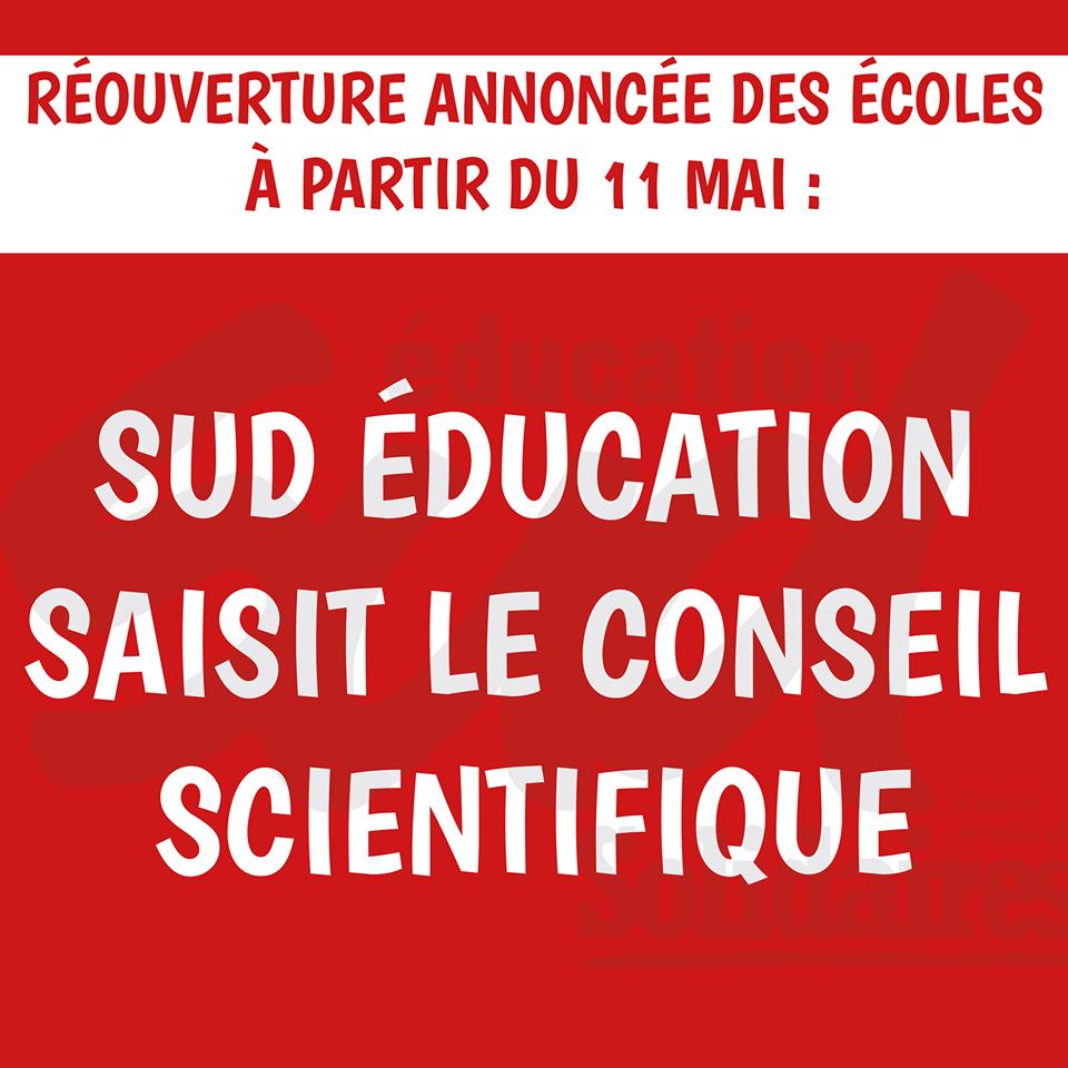 Réouverture annoncée des écoles à partir du 11 mai : SUD éducation saisit le conseil scientifique