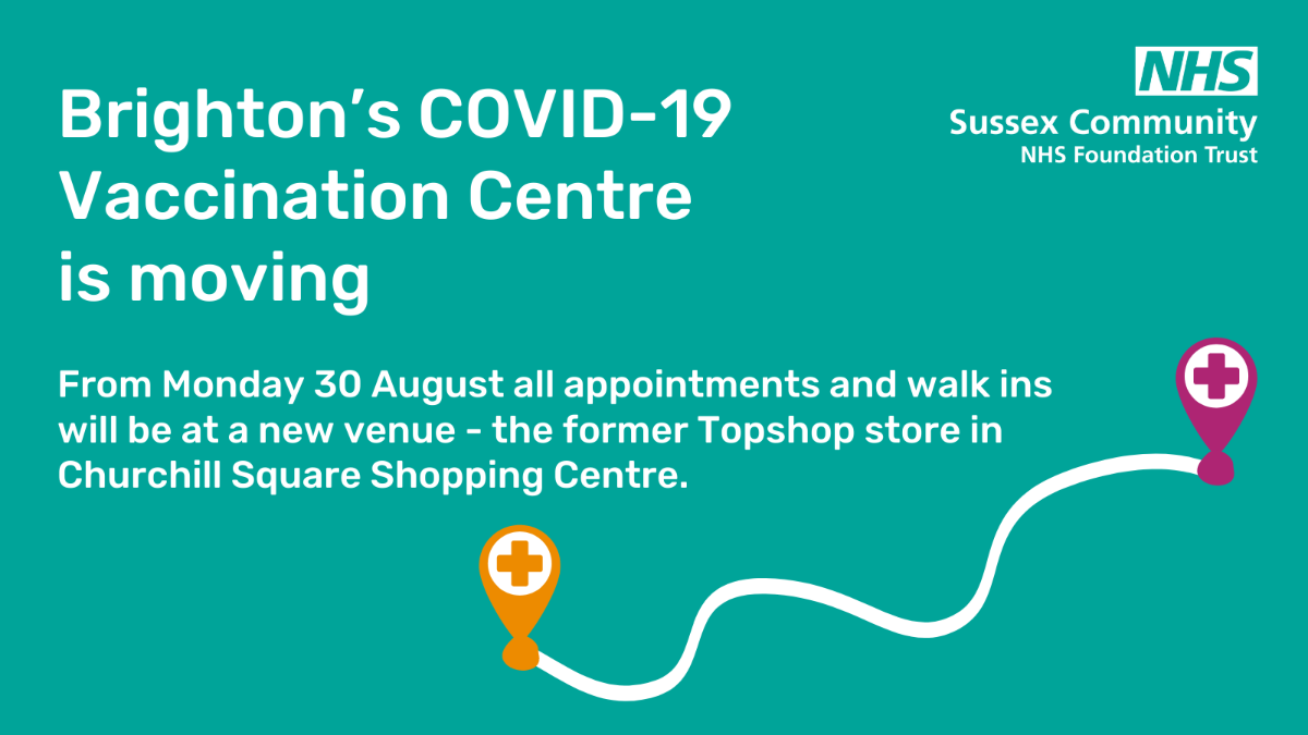 From Monday 30 A`ugust all appointments and walk-ins will be at a new venue - the former Topshop store in Churchill Square
