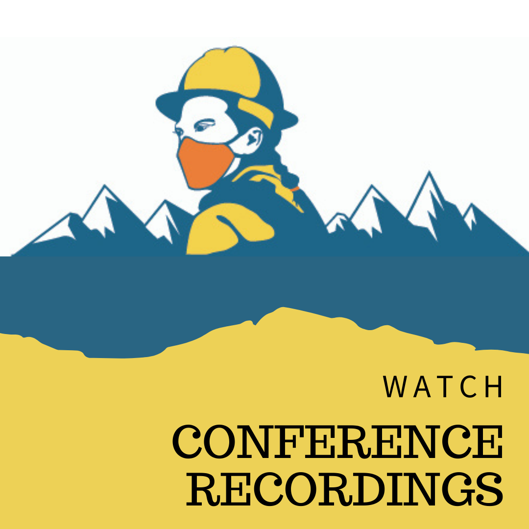 Text: Watch Conference Recordings; Decorative image of firefighter wearing medical mask with mountains in background