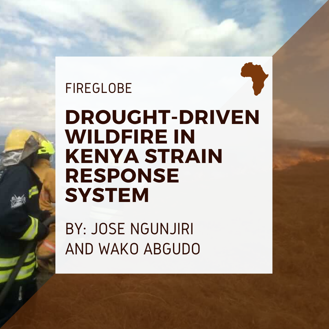 Picture of firefighter; Text: Fireglobe: Drought-Driven Wildfire in Kenya Strain Response System By Jose Ngunjiri and Wako Abjudo