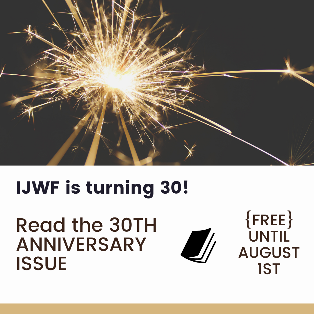 decorative picture of a sparkler; IJWF is turning 30! Read the 30th anniversary issue {FREE} until August 1