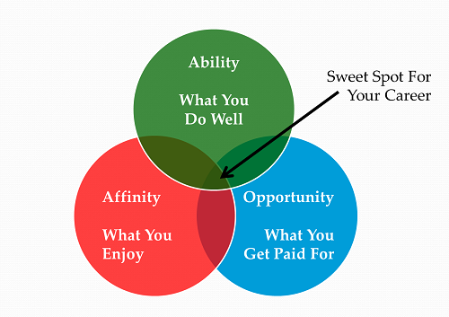 three circles one says Affinity, another says ability, one says opportunity and an arrow points to centre which says sweet spot
