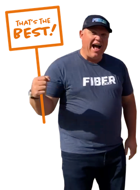 Fiber guy Chuck with sign that says