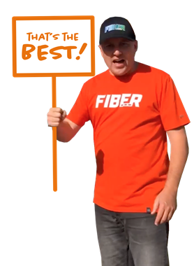 Fiber guy Ryan with sign that says