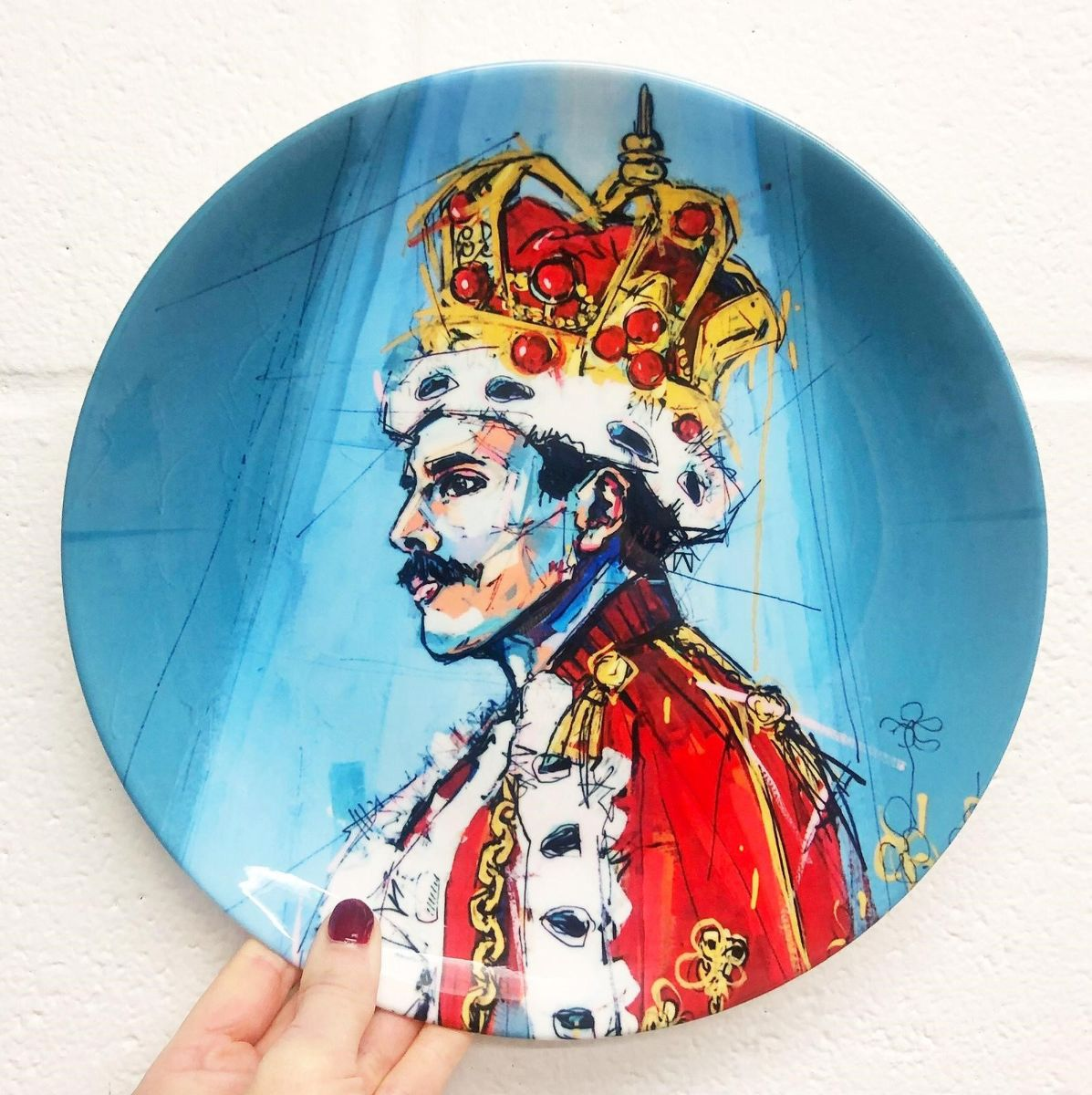 Royal Freddie - Freddie Mercury portrait on dinner plate