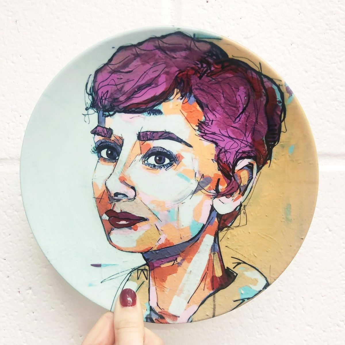 Audrey hepburn tableware - ceramic plate by Artwow