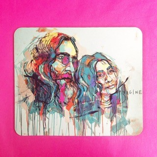 Personalised mouse mat with John Lennon and Yoko Ono