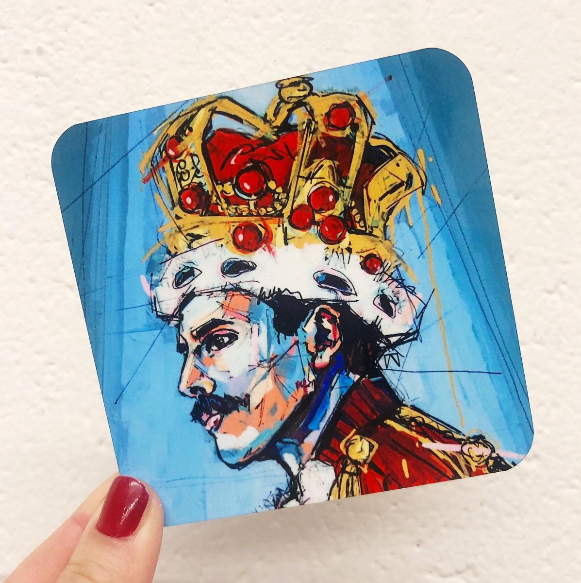 Personalised coasters with Freddie Mercury portrait, made in UK